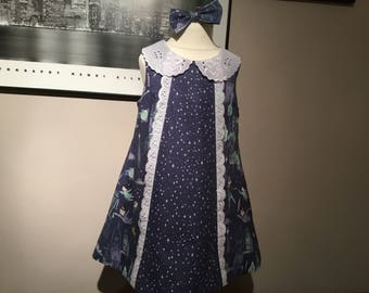 Girls party dress, Neverland, Peter Pan, starry night, wendy, broderie anglaise collar, special birthday dress, age 3 years