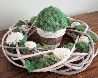 Wreath, Neutral Wreath, Green and White Wreath, Moss Wreath, Sola Flower Wreath, Neutral Home Decor, Moss Home Decor, Home Decor