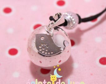 Pregnancy's Bola Bulan bola Xylophone charm with 925 sterling silver bird