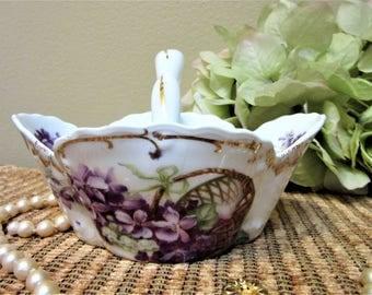 Bavaria China Basket Violets Pattern Fine Porcelain Collectible Vintage blm