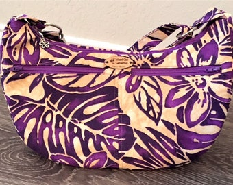Hobo Bag, Handbag, Sling Bag, Slouchy Bag, Tropical Bag, Large Purse in Purple Petals Floral Print - Made in Maui