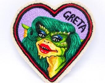 Greta Gremlin Hand Embroidered Patch Art
