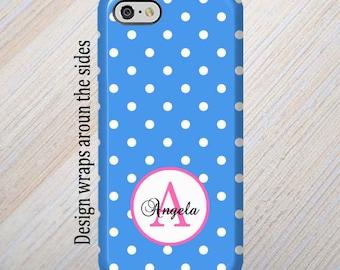 iPhone 8 Case, Monogram, iPhone 6 Case, iPhone 7 Case, iPhone 7 Plus Case, Galaxy S8 Case, Blue Polka Dots, iPhone 8 Plus, Galaxy S7 Case
