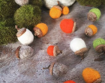 Handmade Felted Wool Acorns