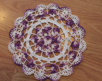 New Hand Crocheted Doily - shaded purple and white