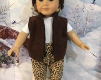 Fall vest and pants outfit.  Crocheted hat and boots also available