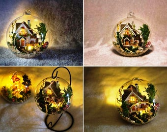 DIY Forest Villa Doll House Miniature Mini Glass Ball Model Building Kits wooden Miniature Dollhouse Toy Gift