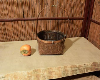 Vintage Japanese Ikebana Flower Arrangement Bamboo Basket
