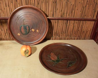 Set of 2 Vintage Round Japanese Wood Carved Tray / Hibiscus Flower Apple Cherry 10 Inches Diameter
