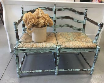 Vintage Teal Heavily Diatressed Rattan Indoor Outdoor Bench Farmhouse Fixer  Upper Style Furniture