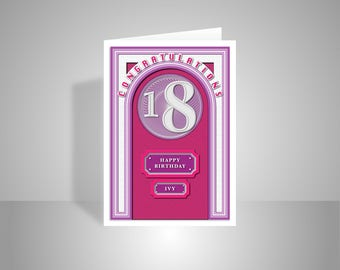 18th Happy Birthday for girl card personalised 18 birthday card for female sister daughter niece granddaughter girl friend edit name message