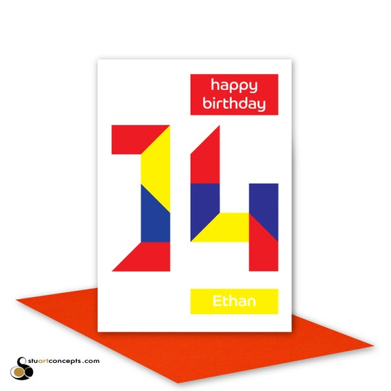 Personalised 14th birthday card for boy for girl edit name 14 like this item bookmarktalkfo Images