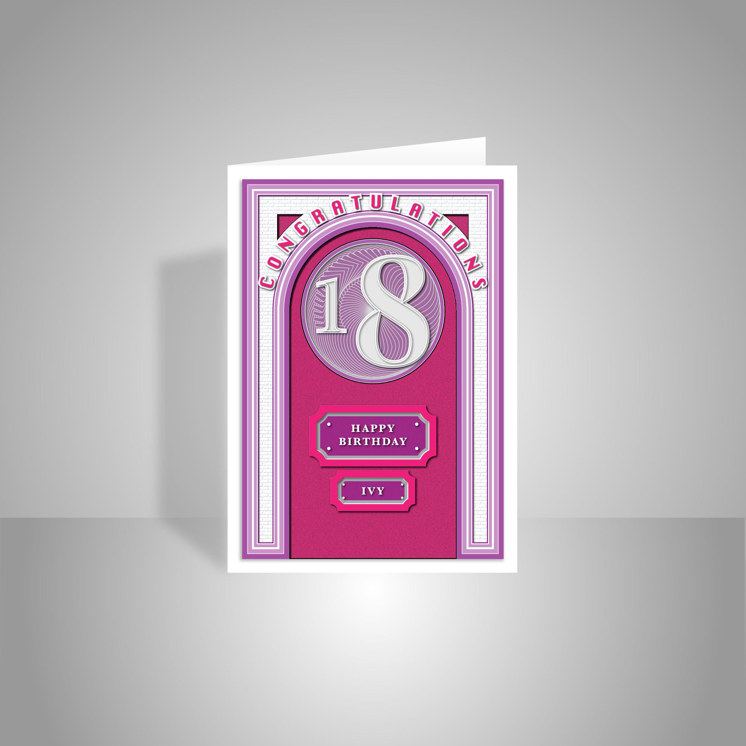 18th Happy Birthday for girl card personalised 18 birthday