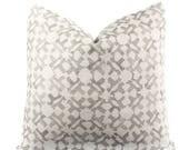 Boho Pillow Cover, Orcha, Linen, Natural, Gray, Linen, Pattern, 18x18, 20x20, 22x22, 24x24, Lumbar