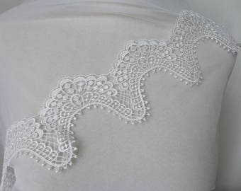 Vintage Venice Lace In Off White, Hollowed Out Scalloped Lace Trim, Venise Lace Trim For Costume Design, Jewelry Design, Home Decor