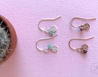 Minimalistic rose gold filled earrings with tiny daisy charms