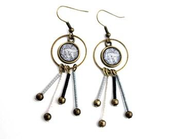 Bohemian cabochons with black and white miyuki beads earrings