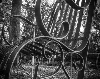 Black and white wrought iron chair photography