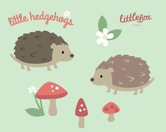 Hedgehogs - Clip Art - Instant Download - EPS PNG