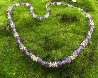 ON SALE Natural Amethyst and Swarovski Crystal Beaded Necklace