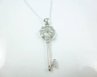 Sterling Silver Key Necklace, Key to my Heart Pendant, Key Pendant, Dainty Key Necklace, CZ Pendant