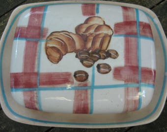 French Vintage Butter Dish, Croissant brioche & coffee beans motif, checked tablecloth. Pottery plate and cover. Farmhouse country style,