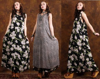 Ethnic Kaftan Moroccan Dress Hippie Bohemian Dress reversible Dress 60s Vintage Dress Embroidered Kaftan Dress Festival Clothing dresses