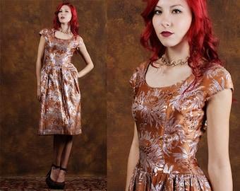 Vintage Dress / 50s Dress / 1950s Dress / Couture Dress / Designer Dress / brocade / Copper Dress / Rockabilly Dress / Size XS
