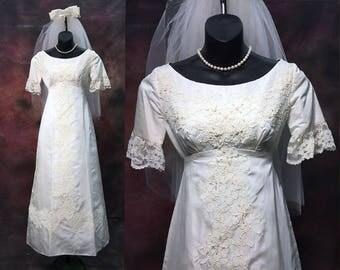 Vintage dress - wedding dress - vintage wedding dresses - 60s wedding dress - 1960s - XS dresses - Petite wedding dress