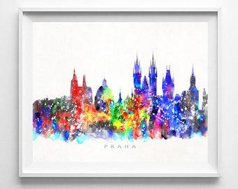 Praha Skyline, Print, Czech Republic Wall Art, Prague Poster, Prague Wall Decor, Cityscape, City Skyline, Giclee Art, Mothers Day Gift