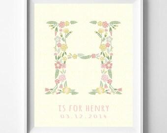 Birthday Poster, Baby Art Print, Baby Artwork, Children Room, Hanah, Harmony, Heidi, Nursery Name, Monogram Alphabet, Valentines Day Gift