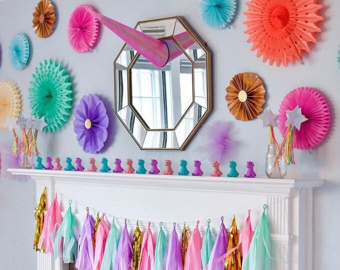 Unicorn tassel garland, pastel Unicorn Tassel Garland, unicorn Party Decorations, pastel Rainbow Decor, Rainbow Baby