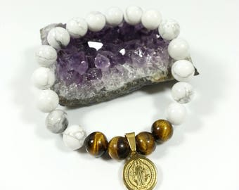 Howlite Bracelet -with Stainless Steel Saint Benedict & Tiger Eye, 8mm, Howlite and Tiger Eye, San Benito Bracelet, Protection Bracelet