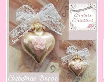 Rose gold heart glass baubles