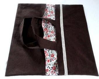 Pie bag - Brown / ecru lace / Japanese flowers