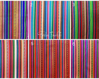 WHOLESALE FABRIC - 10 meters Peruvian Striped Fabric   fabric by meter ,Cusco Fabric, Home Decoration, couverture pérou,tessuti vintage