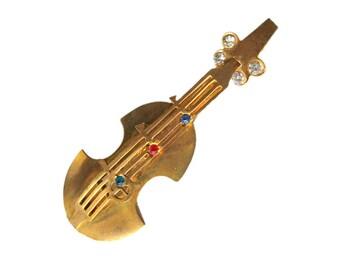 Bass or Violin Musical Pin / Figural Pin