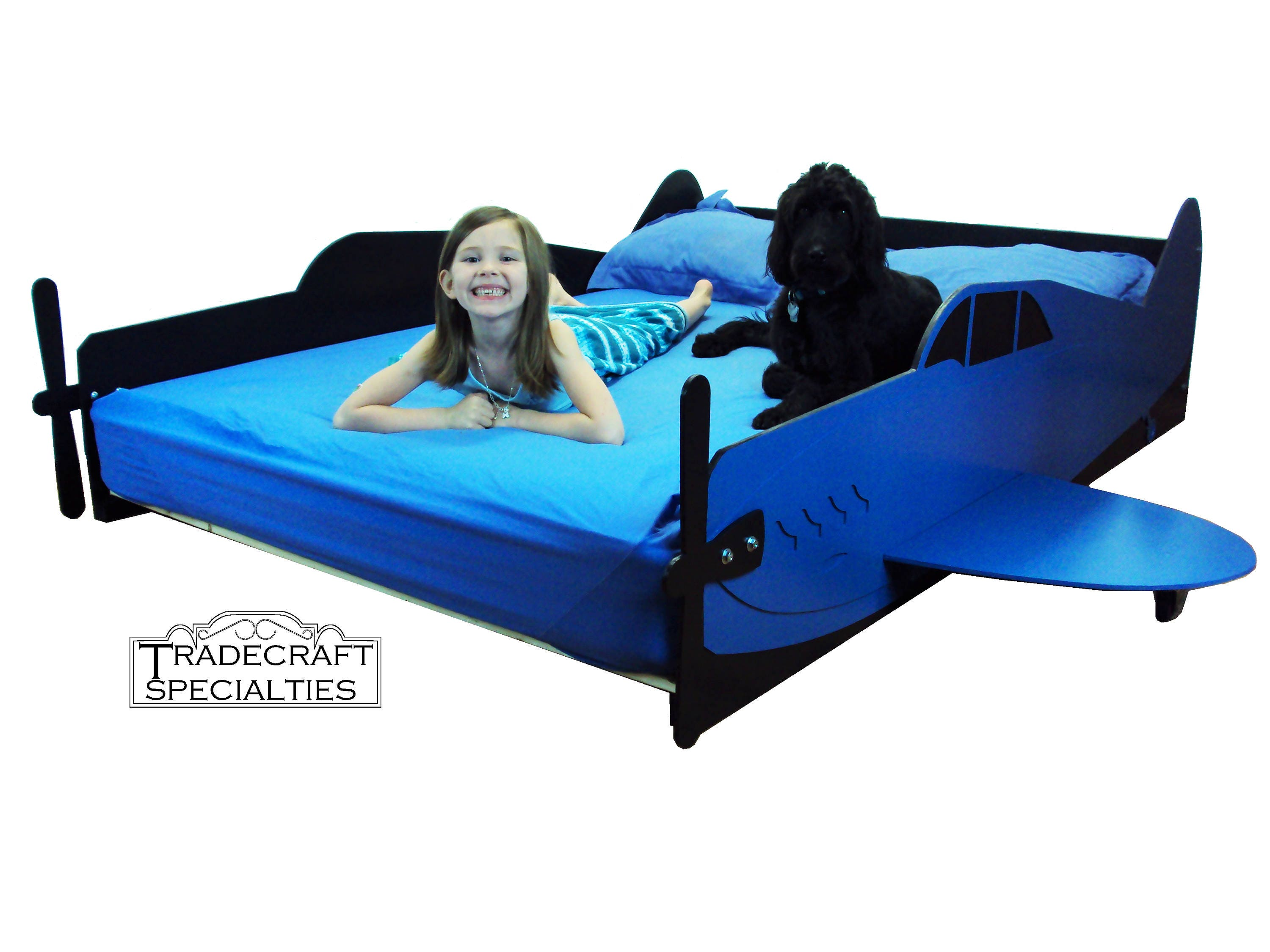 Aircraft full kids bed frame handcrafted airplane themed for Airplane bed frame