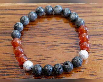 Genuine Labradorite and Red Agate Gemstone Bracelet with Lava Beads
