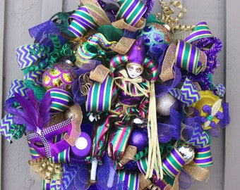 FREE SHIPPING Mardi Gras Wreath, Mardi Gras Door Wreath, Mardi Gras Mesh Wreath, Fat Tuesday Wreath, Front Door Wreath, Mesh WReath