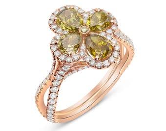 Pear shape dark yellow color champagne diamond ring