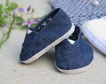 Denim 18 Inch Doll Shoes - Toms-Style Doll Shoes - Doll School Shoes - American Made Girl Doll Clothes - Pixie Faire Janes - Doll Sneakers