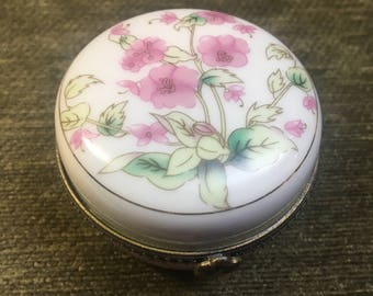 Pink Floral Porcelain Hinged Box with Brass Trim, Floral Ring Box, Tooth Fairy Box, Hinged Floral Box, Pink Floral Box