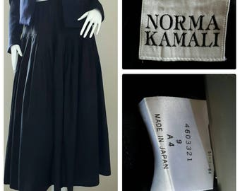 Norma Kamali Skirt - Vintage 80s Black Skirt Midi Length/ Designer Skirt Small - Medium  elastic waist