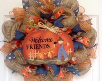 Welcome Friends Autumn Deco Mesh Wreath 20 Inch