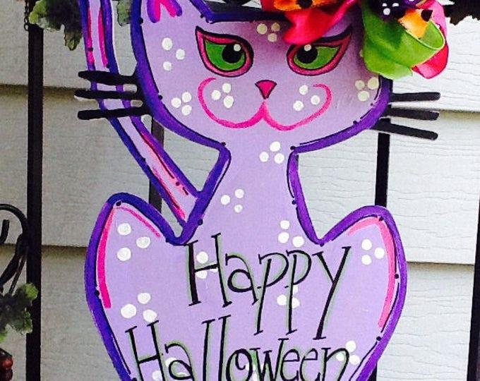 Halloween door hanger, halloween door sign, black cat, trick or treat, got candy, got treats, happy halloween, ghosts, witches door hanger