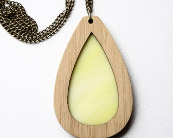 Yellow Glass in Teardrop Wooden Pendant on chain