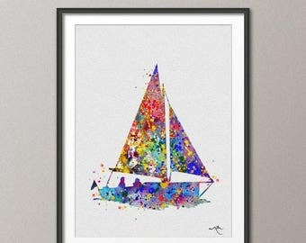 Sailboat Watercolor illustrations Coastal Living Art Print Wall Art Poster Giclee Wall Decor Art Home Decor Wall Hanging No 142