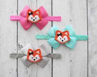 Fox Bow Headband for Baby Girl - fox birthday, aqua bow, baby girl headband, grey orange bow headband