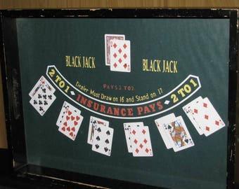 """Vintage Bar 21 Black Jack  SERVING TRAY Cards Vegas Gambling Craps Poker Casino Antique Service Wood 17.5"""" x 13"""" Gambler Blackjack"""